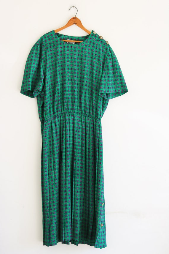 Leslie Fay 80s Dress Vintage Plus Size Dress Pleat