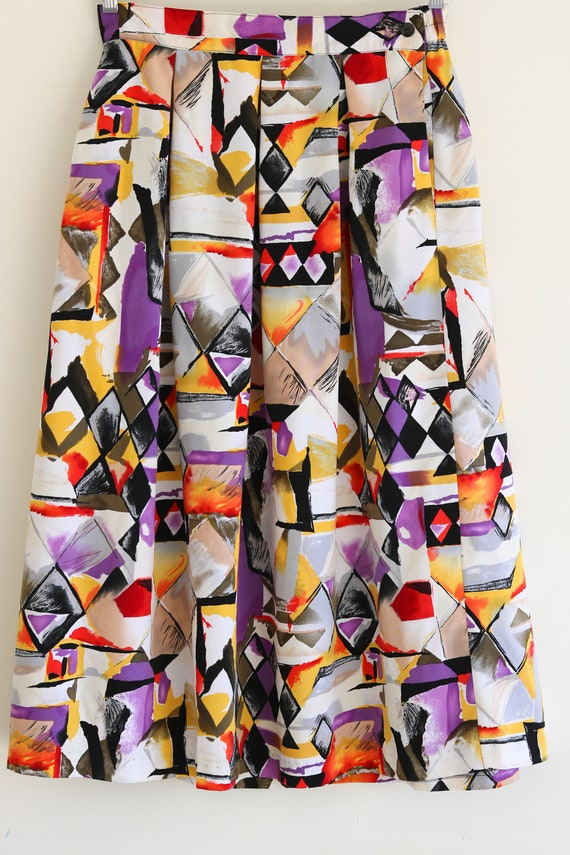 Vintage Plus Size Abstract Colorful Midi Skirt
