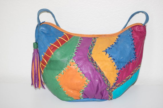 812d1fb5de Vintage 80 s Colorful Leather Handbag