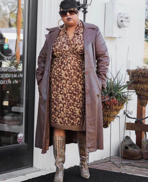 70s Brown Leather Trench Coat Plus Size Trench