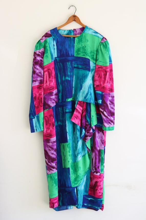 80s Dress Abstract Avant Garde Plus Size Vintage D