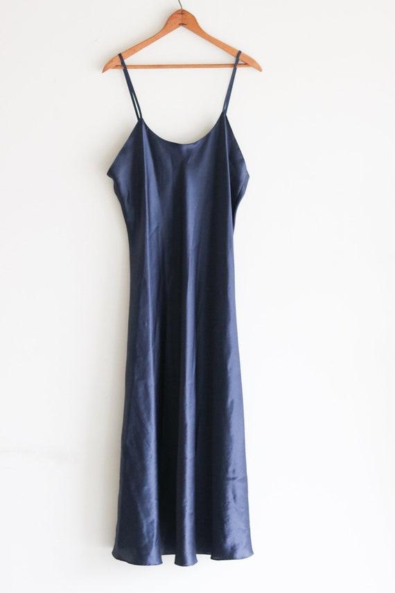 90s Vintage Slip Dress Navy Blue Slip Dress