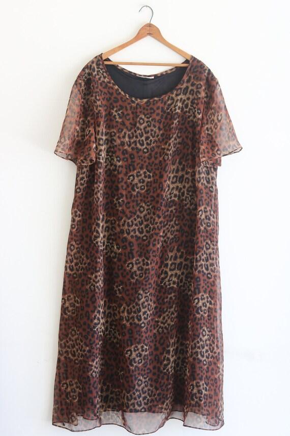 Vintage Dress Leopard Dress Plus Size Vintage 90s