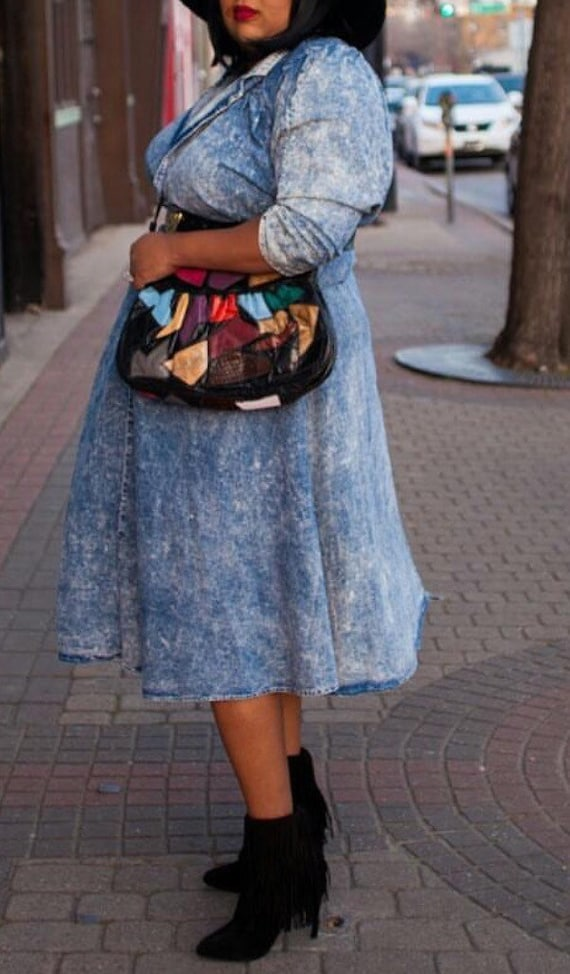 Plus Size Dress 80s Stone Washed Denim Dress Plus… - image 2