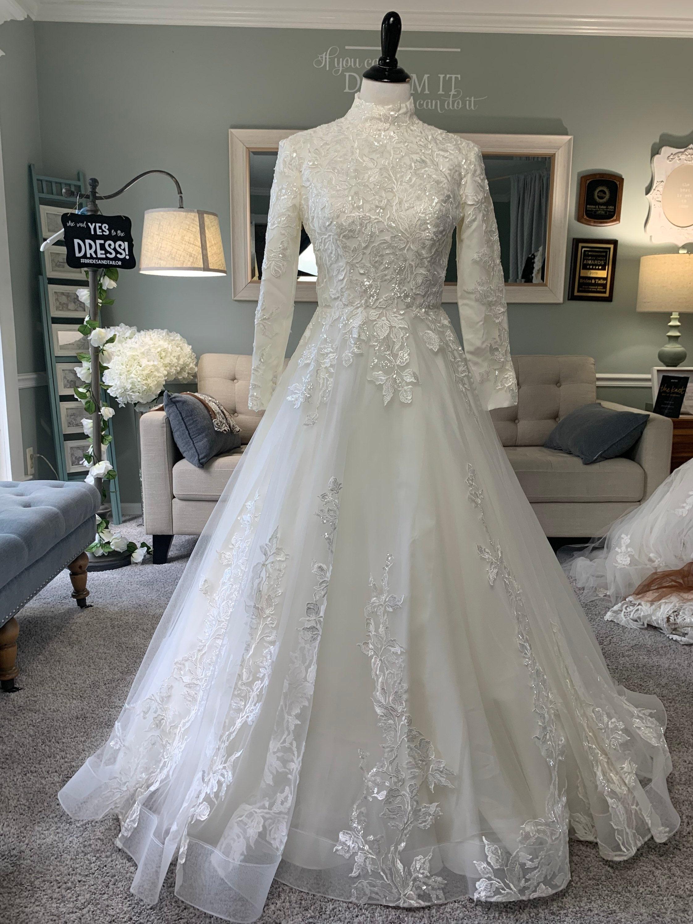 Modest Wedding Dress/ Hijab Wedding Dress / Hijab Friendly Wedding Dress  /Long Sleeves Wedding Dress /Modest Bridal Gown by Brides & Tailor