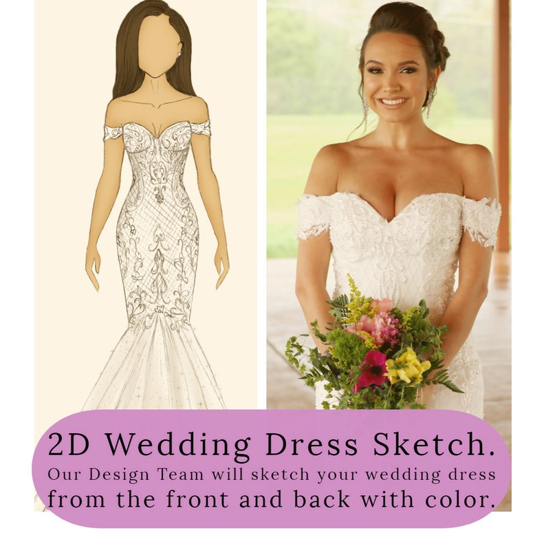 Custom Wedding Dress Sketch in 2D by Brides & Tailor image 0
