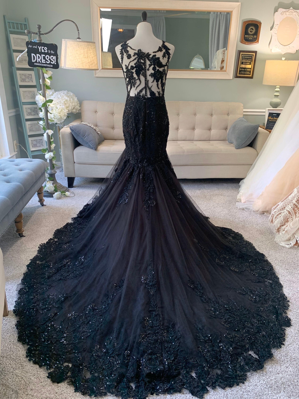 Black Wedding Dress,Gothic Wedding Dress,Mermaid Black Dress,A Line Wedding  Dress,Black Lace Wedding Dress,Illusion Back Wedding Dress