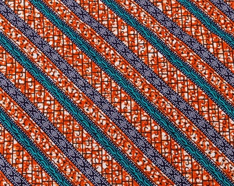African Designs Patterns HOLLANTEX Orange Blue Line Design htw717103