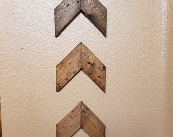 Wood Chevron Arrows- set of 3. Wood Arrow Wall Art. Chevron Home Decor. Farmhouse Wood Chevron Arrows. Rustic Wood Chevron Arrows
