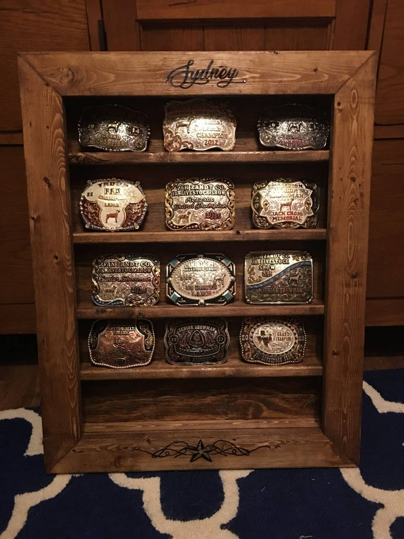 Custom farmhouse buckle rack / Buckle Display Case BUILD to image 0
