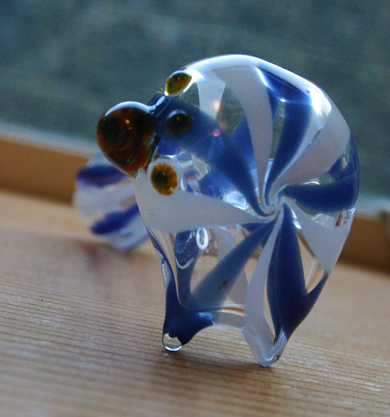 Blue And White Pipe Boro Glass Pipe Swirled And Striped Etsy