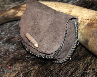 Belt bag, medieval, larp, leather, single piece