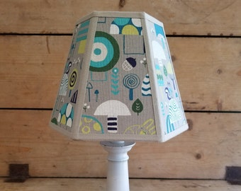 Lively 1960/'s Mushroom Fabric Lampshade