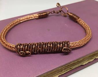 Copper Double Viking Knit bracelet, jewelry, hand crafted, beaded, copper, viking knit, bracelet, woven wire