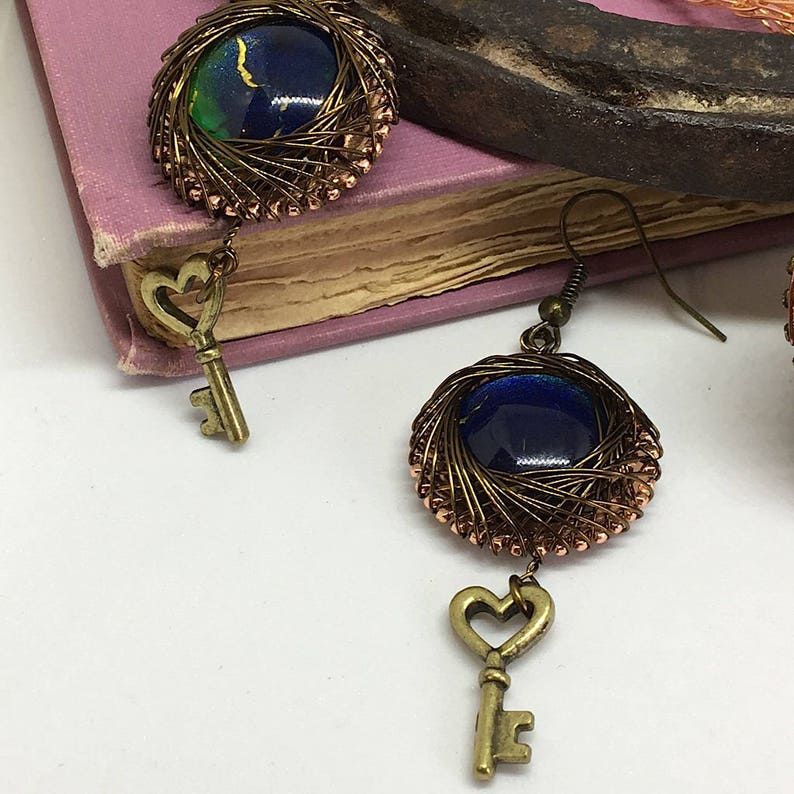 2 piece Steampunk Set Mixed Metals Earrings Jewelry Set hand painted cabochons, Steampunk Woven Wire Handcrafted and Necklace