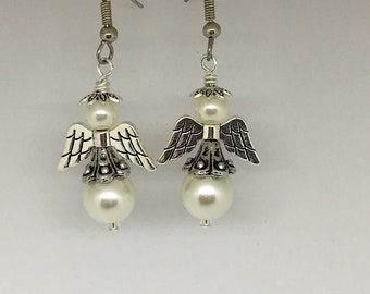Angel Earrings with Cream Glass Pearl Beads, Angel Jewelry, Angel Earrings, Beaded Angel Earrings, Beaded Angel Jewelry, Angel