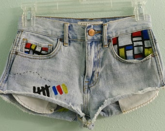 "23 ""Mondrian's Mess"" High Rise Denim Short"