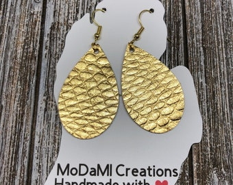 2.5in, gold cobra, teardrop, Leather earrings, handmade earrings, nickle free, drop earrings, dangle earrings, lightweight