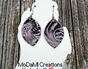 Leather earrings, periwinkle, plum, tooled, marquise, handmade earrings, nickle free, drop earrings, dangle earrings, lightweight