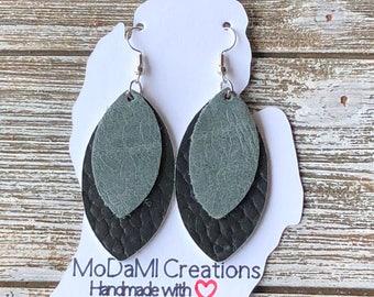 Leather earrings, handmade earrings, genuine leather, nickle free, layered earrings, black, gray, marquise, dangle earrings, lightweight