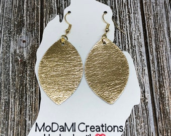 2.5 in, gold, marquise, metallic, Leather earrings, handmade earrings, nickle free, drop earrings, dangle earrings, lightweight