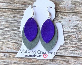 Leather earrings, handmade earrings, genuine leather, marquise, dangle earrings, drop earrings,nickle free, gray, purple suede, lightweight