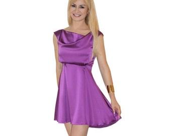 Brand Launch Sale! Elegant women's purple silk mini dress