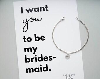 Bridesmaid bracelet, bridesmaid gift, hope pendant, silver