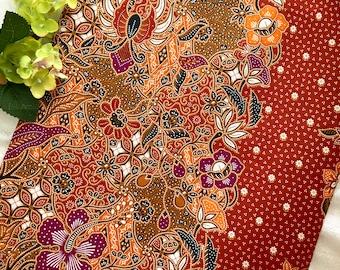 Arillia - Authentic Malaysian Hand Painted Batik (Marmalade Orange Brown)