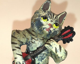 Banjo Cat hand Painted