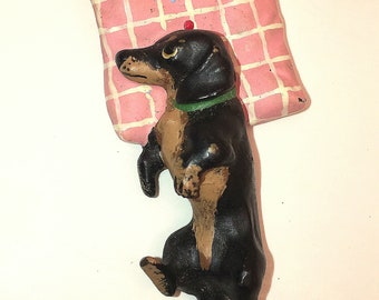 Vienna Bronze Dachshund on Pillow Hand Painted