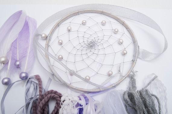 Kit de bricolage Dreamcatcher faites-le vous-même rêve catchers fille artisanat enfants chambre décoration idée cadeau fille catchers garçon bébé enfants métier ensemble Boho chic en argent 16eeb4