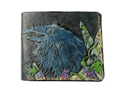 Crow, Genuine Leather wallet, Men 39 s wallet, Hand-Carved, Hand-Painted, Leather Carving, Custom wallet, Personalized wallet