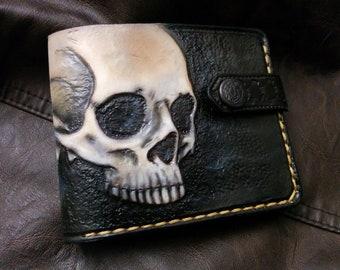 Bone, Skull, Jaw, Skeleton, Men's 3D Genuine Leather Wallet, Handmade wallet, Carved wallet, Tooled wallet, Airbrush Art