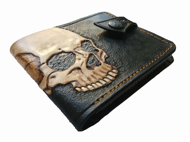 4ca3007e32ee9 Totenkopf Brieftasche Skelett Echtleder Geldbörse Herren