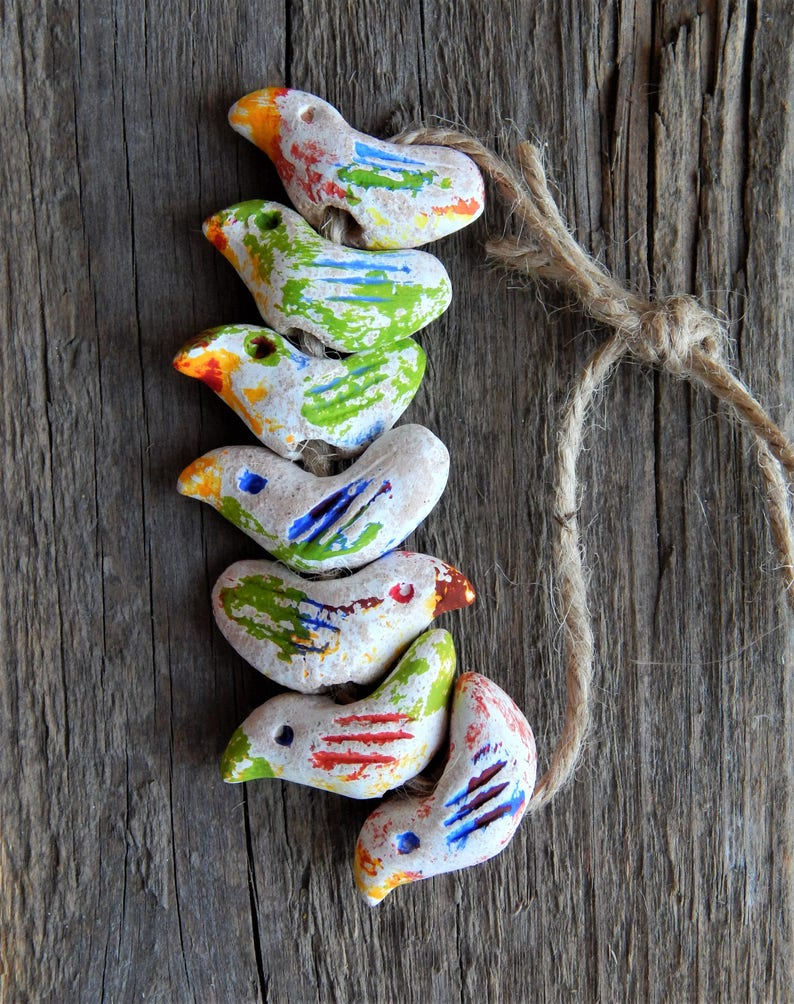 a gift for her birds of clay beads in ethno style A set of 6 ceramic beads a set for needlework small birds beads in the form of birds