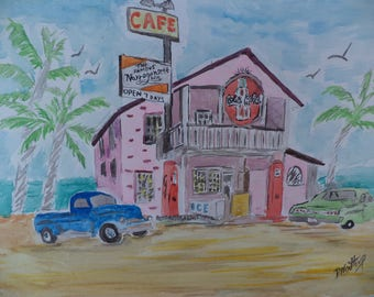 Cafe On The Beach Painting