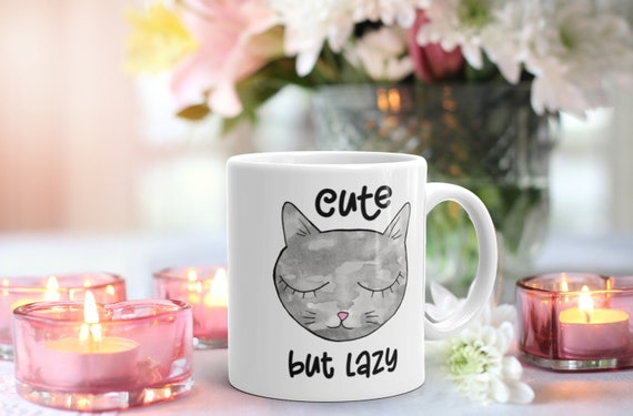 Lazy but Cute Funny Mug, Cat Nap Coffee Cup, Sleepy Animal Quote Gift for Girlfriend, Friend, Co-worker, Niece for Her