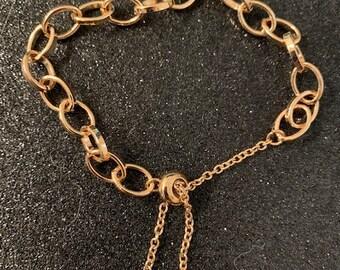 Grandma Gift Locket Heart Gold Multi Charm Bracelet Coin Charm Bracelet Chunky Chain Bracelet SALE Unique Gifts Multi Chain Bracelet
