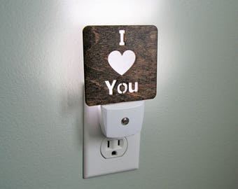 I Love You Wooden Night Light