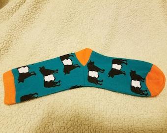 b1e3ed80b Belted Galloway Cow - Beltie Cow - Oreo Cow - Socks - Designer Socks -  Designer Cow Socks - Cow Socks - Novelty Socks - Farm Animal Socks -