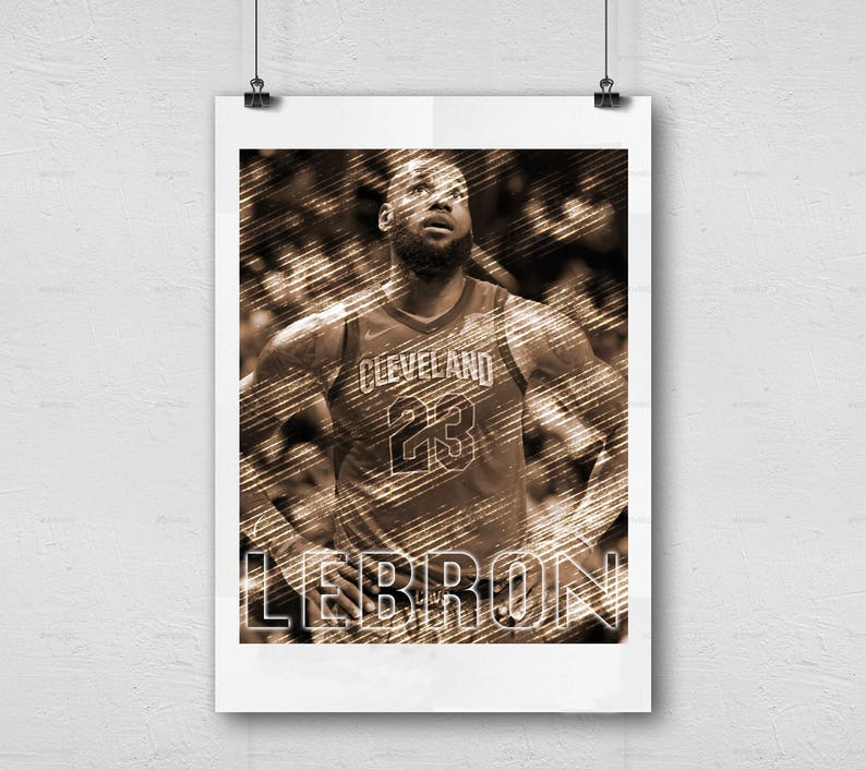 photograph regarding Cleveland Cavaliers Printable Schedule referred to as LeBron James - Cleveland Cavaliers - NBA Basketball Printable Wall Decor, Pictures Athletics Artwork, Person Cave