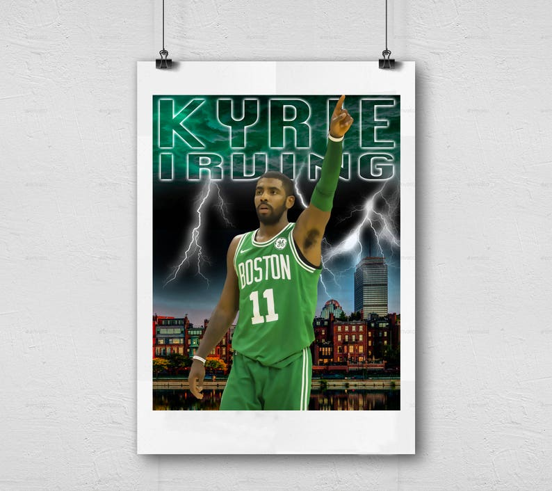 photograph relating to Celtics Printable Schedule called Kyrie Irving - Boston Celtics - NBA Basketball Printable Wall Decor, Pictures Sporting activities Artwork, Person Cave