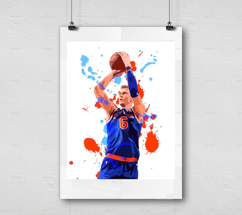 graphic relating to Knicks Printable Schedule named Kristaps Porzingis - Contemporary York Knicks - NBA Basketball Printable Wall Decor, Pictures Sports activities Artwork, Person Cave