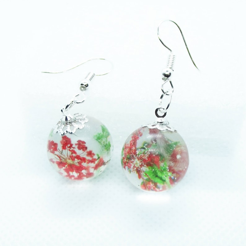 Red and green orb earrings