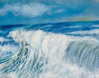 seascape oil painting (blowing)