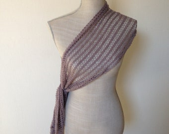 "Lace scarf hand knitted in alpaca/silk-28 cm/160 cm-""Light Brown""-choice of 14 colours"