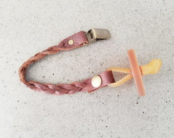 Genuine Leather Braided Pacifier Clip
