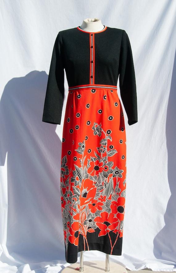 Vintage 1970s Tomato Red Poppies Dress