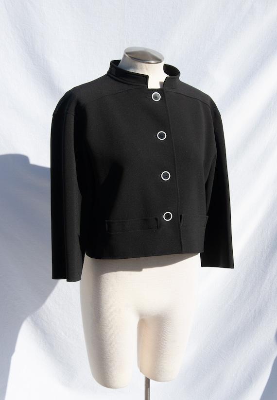 Courreges Vintage 90s Does 60s Black Cropped Jacke